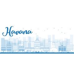 Outline havana skyline with blue building vector