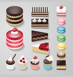 Cakes flat design dessert bakery set vector
