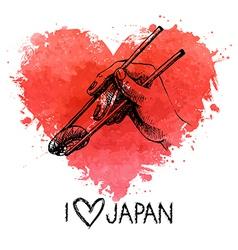 Hand drawn sketch sushi with splash watercolor vector