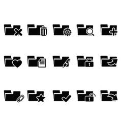 Black file folder icons set vector