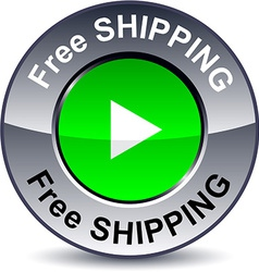 Free shipping round button vector