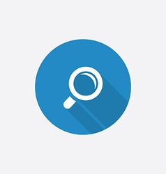 Magnifier flat blue simple icon with long shadow vector
