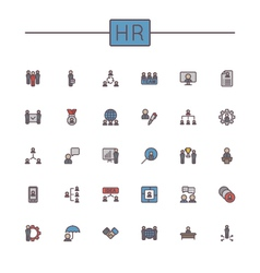 Colored hr line icons vector