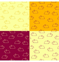 Set of seamless patterns with bunnies vector