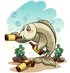 Drunk fish under the sea vector