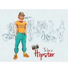 Hipster boy crowd vector