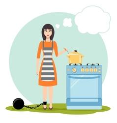 Sad woman dreaming near the kitchen stove vector