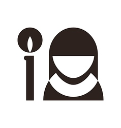 Nun and candle icon vector