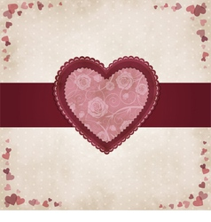 Vintage heart for valentines day vector
