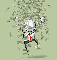 Simple business people money rain vector