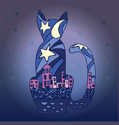 Silhouette of a cat and the city nightlife vector