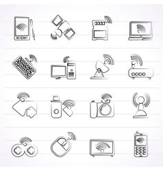 Wireless and communications icons vector