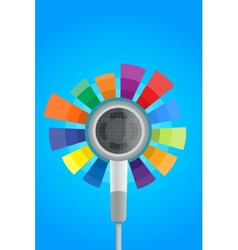 Earphone with color effect equalizer vector