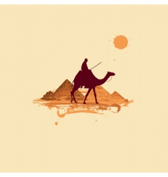 Pyramid in desert vector
