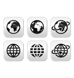 Globe earth buttons set vector