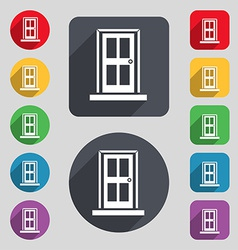 Door icon sign a set of 12 colored buttons and a vector
