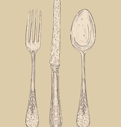 Retro cutlery set vector