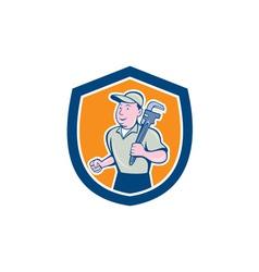 Plumber holding monkey wrench shield cartoon vector