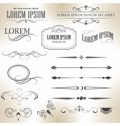 Set of calligraphic design elements and vector
