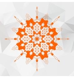 Mandala in orange color on gray triangles mesh vector