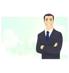 Cheerful businessman vector