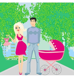 Beautiful pregnant woman and her happy husband vector