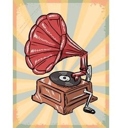 Vintage background with phonograph vector