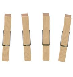 Four clothespins vector
