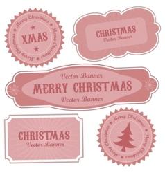 Christmas retro design labels vector