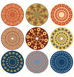 Set of nine geometric colorful mandala vector