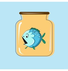 Glass jar with canning fish design vector