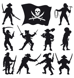 Pirates crew silhouettes set 2 vector