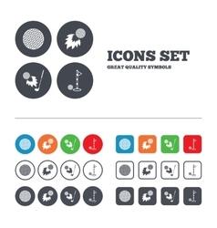 Golf ball icons fireball with club symbol vector