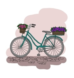 Bicycle with a basket of flowers vector