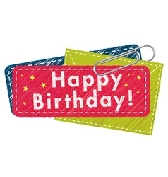 Happy birthday greeting tag vector