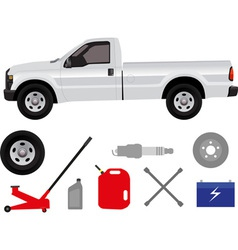 Pick-up truck with group of repair shop elements vector