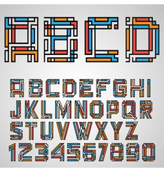 Alphabet letters and numbers in mayan style vector