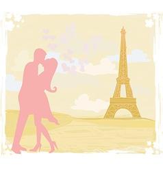 Romantic couple silhouette in paris kissing near vector