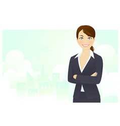 Cheerful businesswoman vector