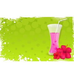 Green banner with glass of juice and hibiscus vector
