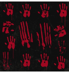 Bloody hand print set 01 vector