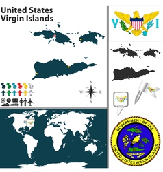 United states virgin islands map vector