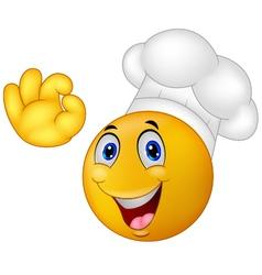 Chef smiley emoticon vector