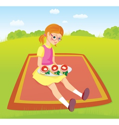 Girl on picnic and sandwiches vector