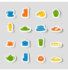 Breakfast icon sticker vector
