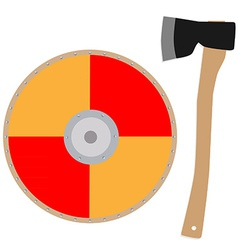Viking shield and axe vector