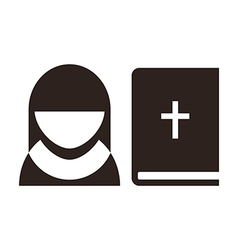 Nun and bible icon vector