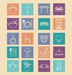 Set of home related icons elements- vector