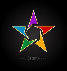 Abstract rainbow star with golden border on black vector