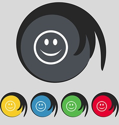 Smile happy face icon sign symbol on five colored vector